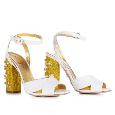 LE SILLA White Sandal In Ammit, Canvas Fabric With Crystals And Stones H.110 Mm. #lesilla #shoes #sandals