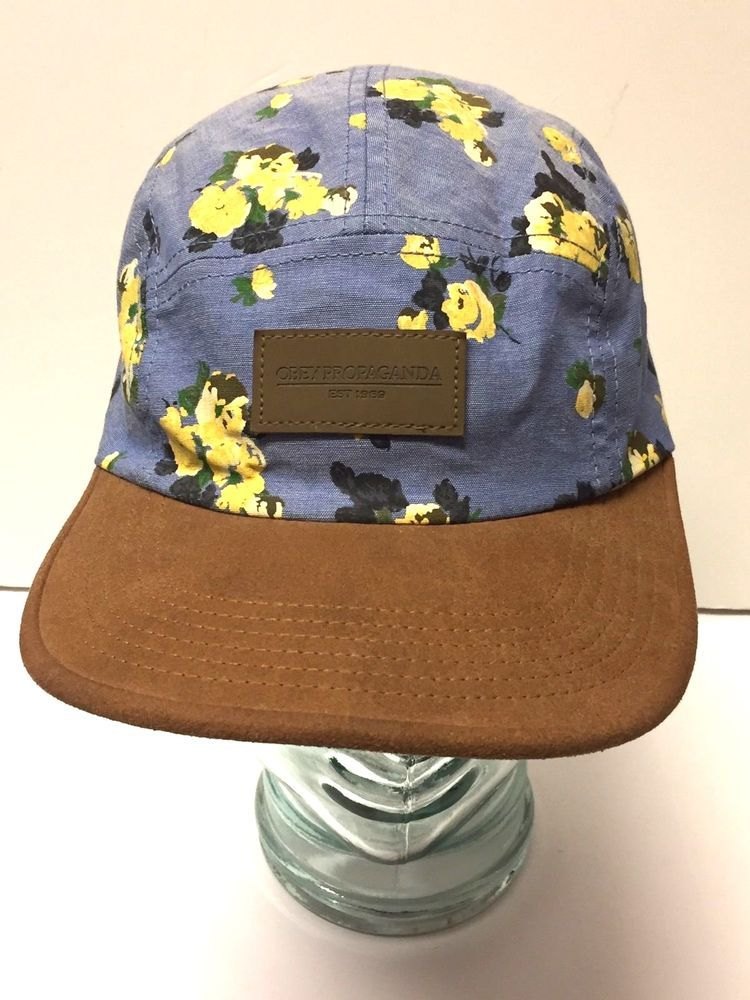 a8fa1cfc691 Obey Propaganda Strap back Blue Yellow Floral Print Hat Cap Flower  OBEY   Cap