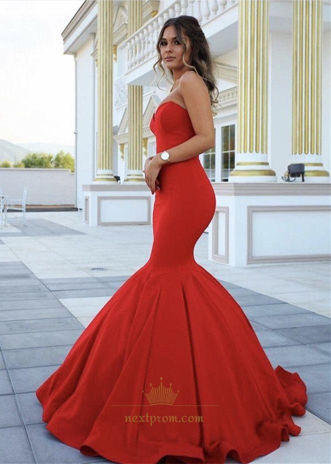 Elegant Red Strapless Sweetheart Floor Length Mermaid Evening Dress ...