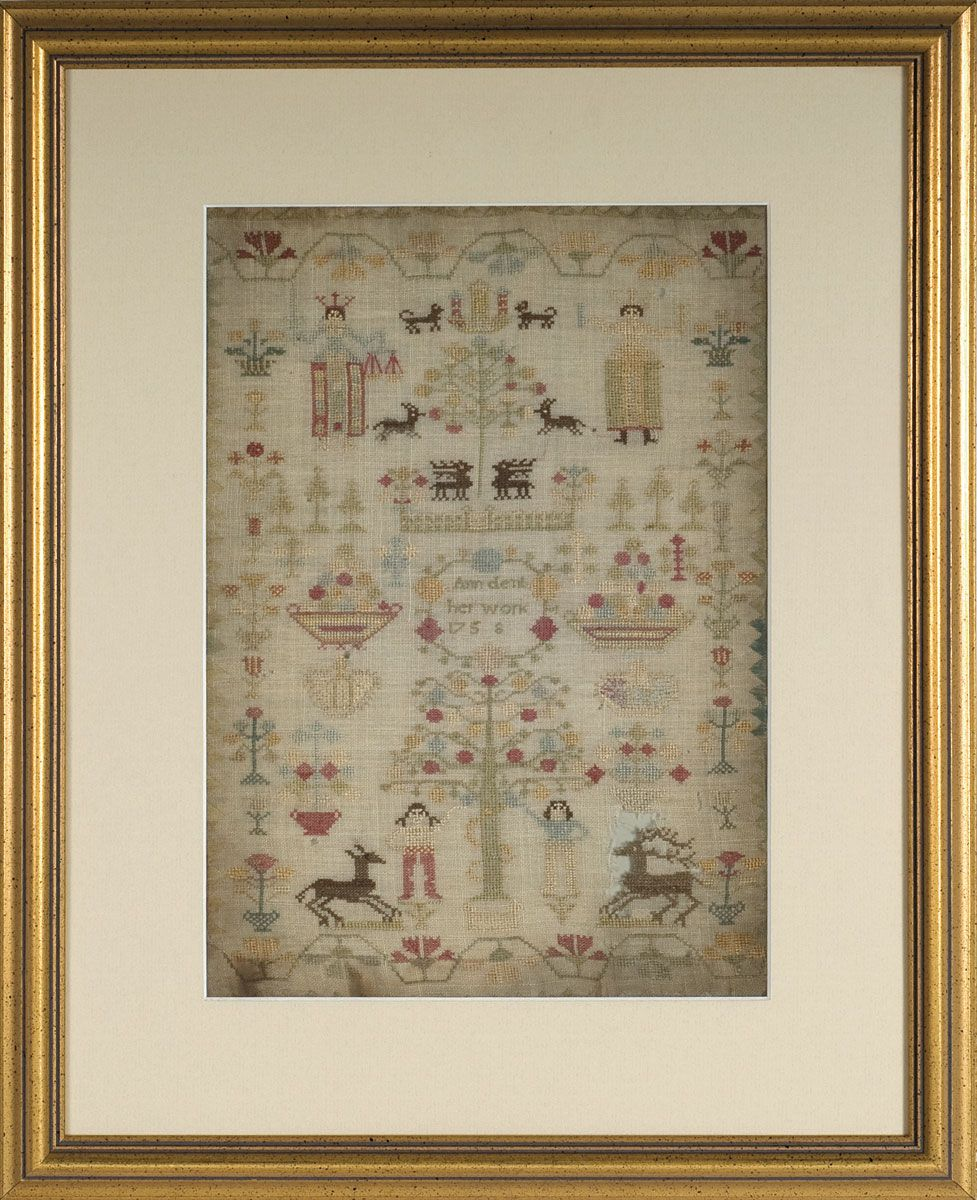 English 'adam and eve' needlework sampler worked by ann