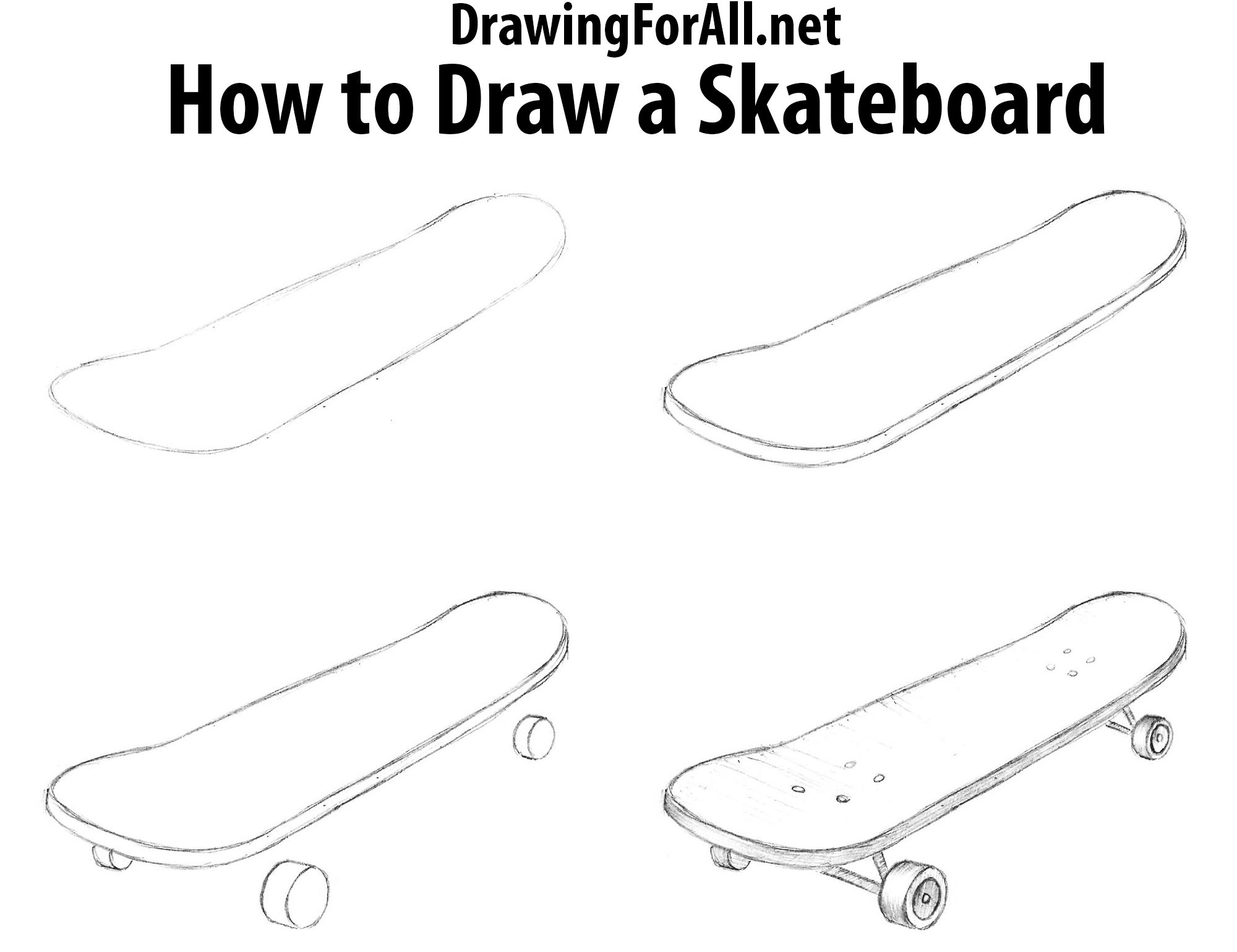 How To Draw A Skateboard Easy Drawings Skateboard Pencil Sketches Easy