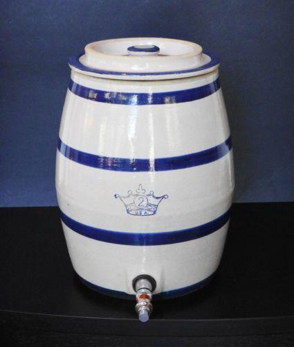 Robinson Ransbottom Crown 2 Stoneware Crock Dispenser Water Cooler Blue Band Vtg Stoneware Crocks Blue Band Crock