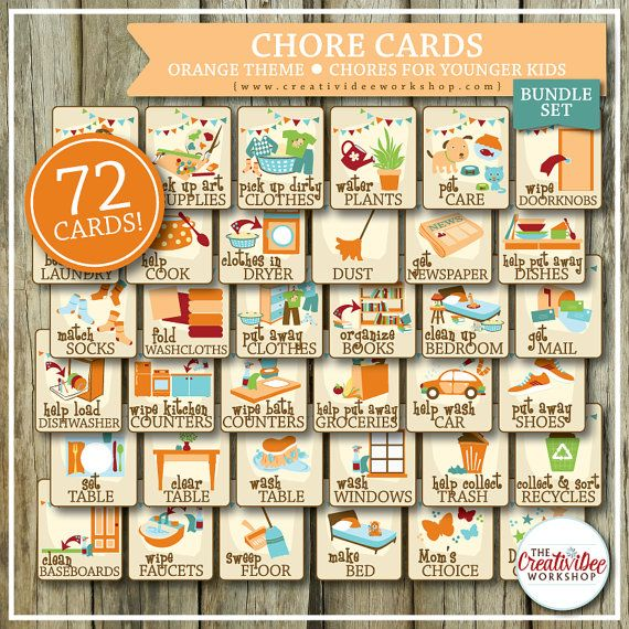 photograph relating to Free Printable Chore Cards referred to as Printable CHORE Playing cards and Chart for Kids, 99 Amount