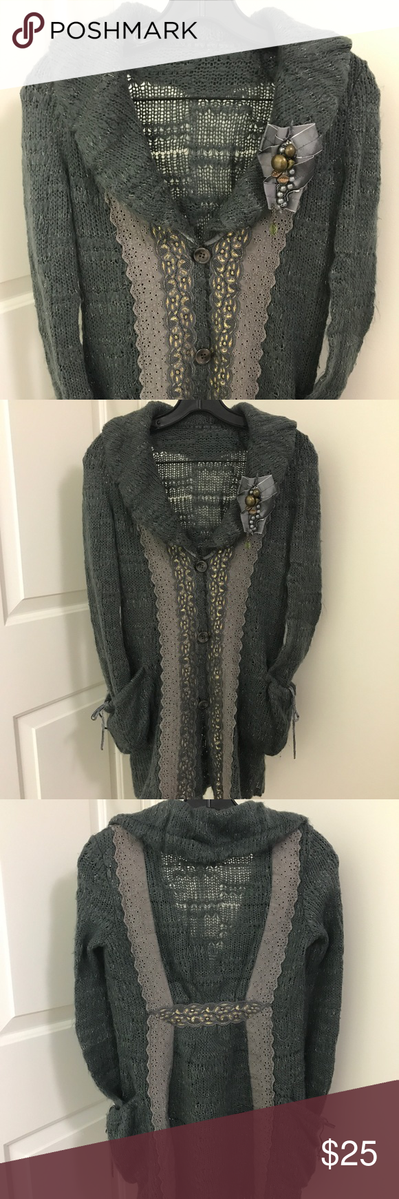 ⬇️Long Grey sweater cardigan coat w jeweled brooch | Pale pink ...