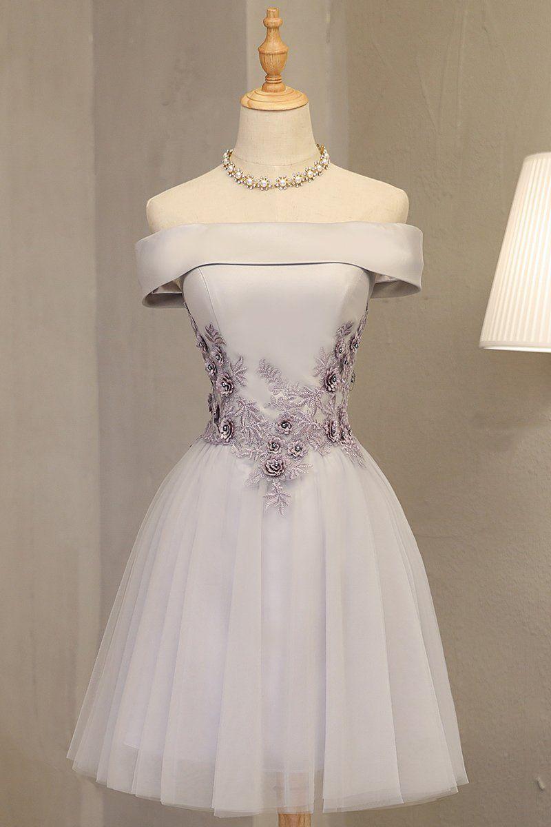 Light grey formal dress off shoulder knee length prom dress party