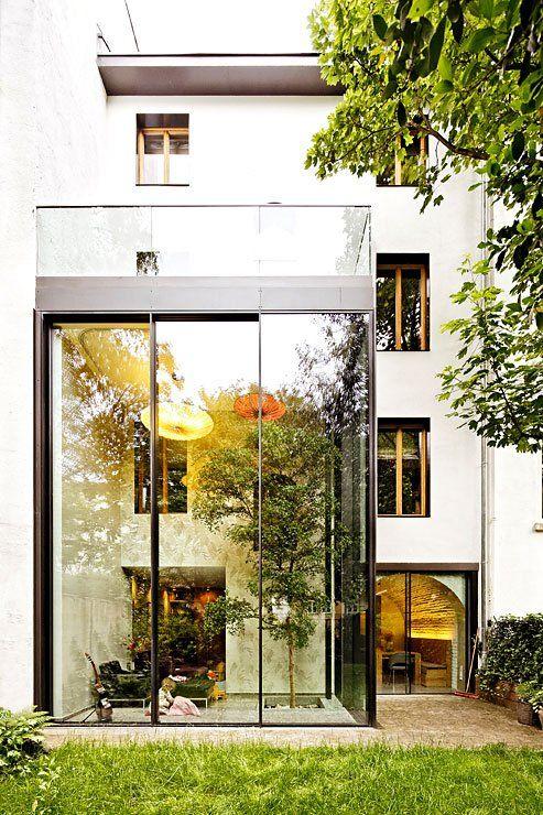 Architektenhäuser: Umbau Zum Modernen Stadthaus   Haus Wohnzimmer In Wintergarten Haus Renovierung