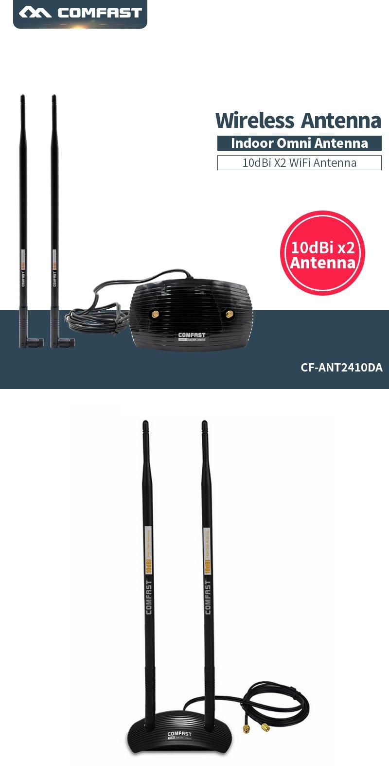10dBi High Gain 2.4GHz 802.11 b//g//n Omni WiFi Antenna RP-SMA Connector