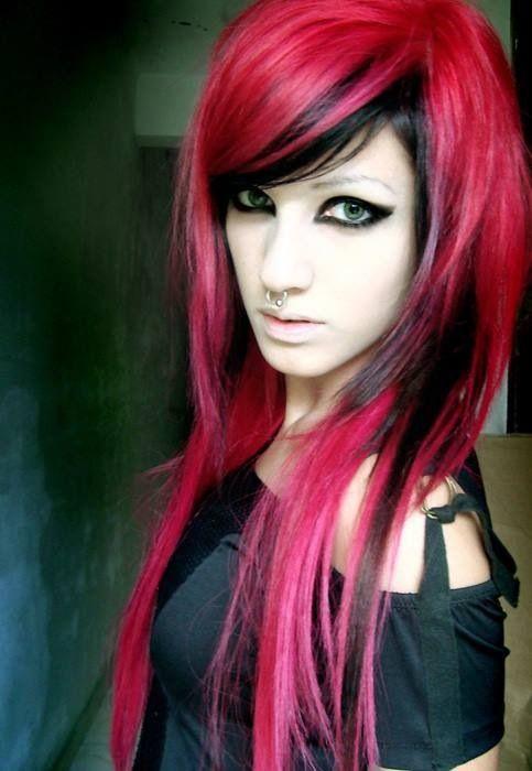 half black half red scene hair wwwimgkidcom the
