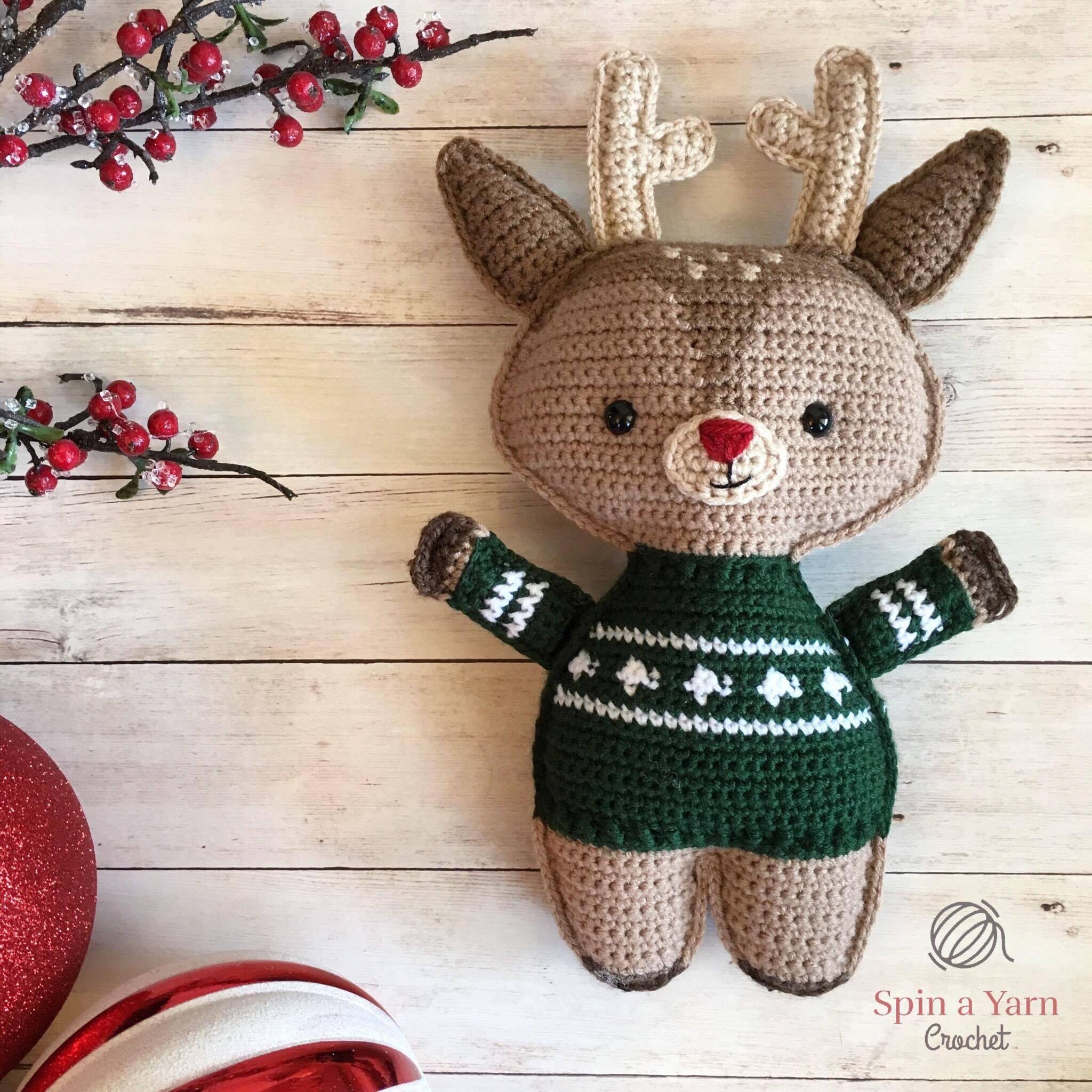 Reindeer in green sweater | Stuffed critters | Pinterest