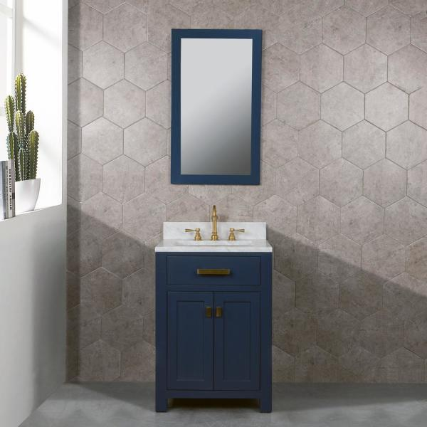 Water Creation Madison 24 In Bath Vanity In Monarch Blue With Marble Vanity Top In Carrara White With White Basin Vmi024cwmb00 The Home Depot In 2020 Water Creation Marble Vanity