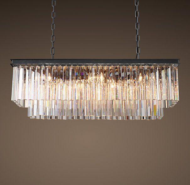 1920s Odeon Clear Glass Fringe Rectangular Chandelier 40 Rectangular Chandelier Ceiling Pendant Lights Dining Room Chandelier