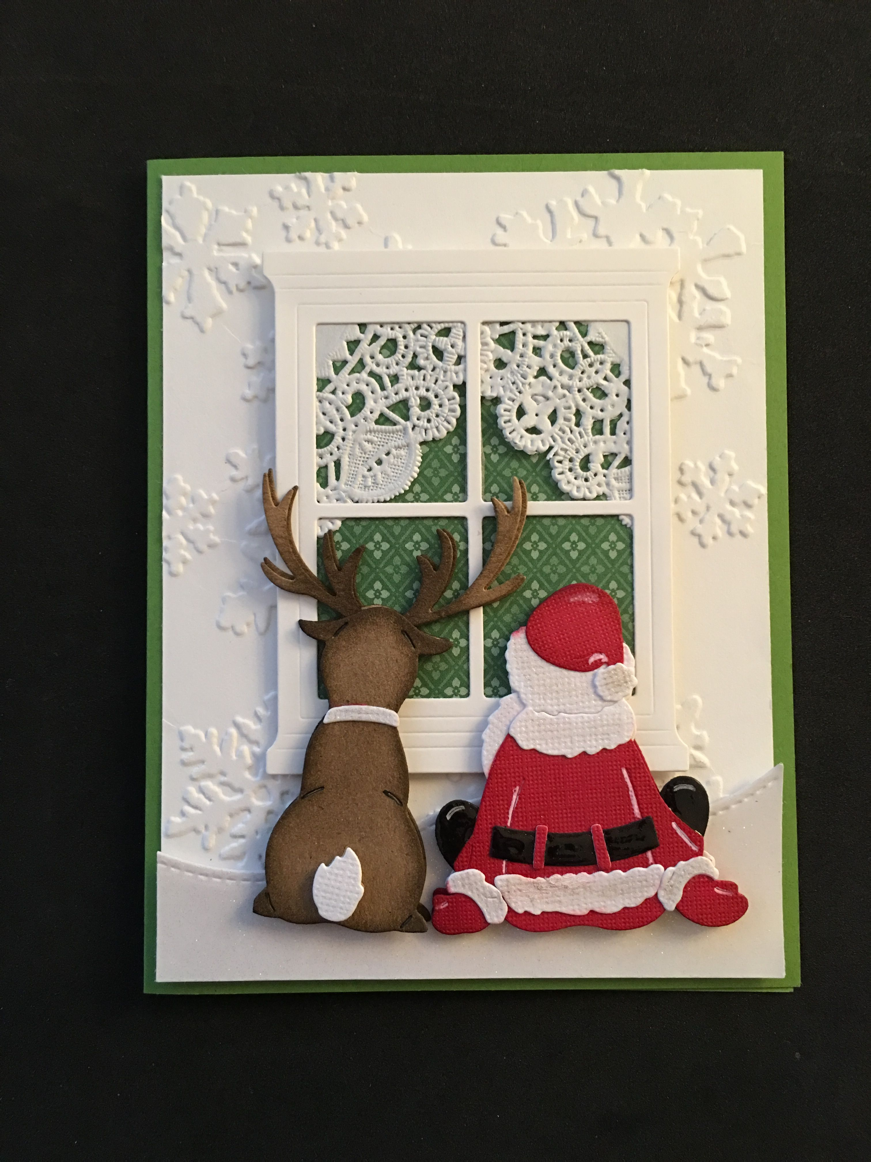 Cottage cutz santa and reindeer window stampin up die for Santa cards pinterest