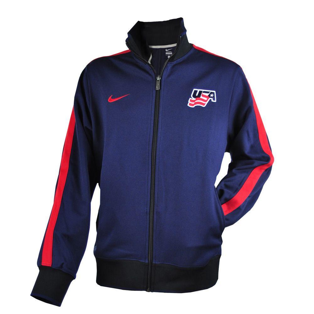 Sporty Nike Jacket With A Red Stripe On Sleeves Jackets Blue Jacket Usa Hockey