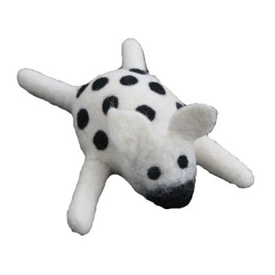 Felted Wool Black And White Cow Dog Toy L Lollycadoodle Olive