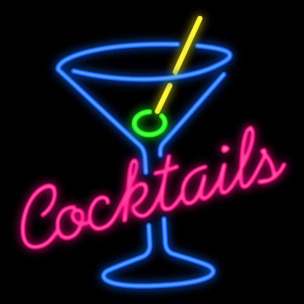 Cocktail LED Neon Bar Sign Home Light up Pub Custom cocktails gin club drink