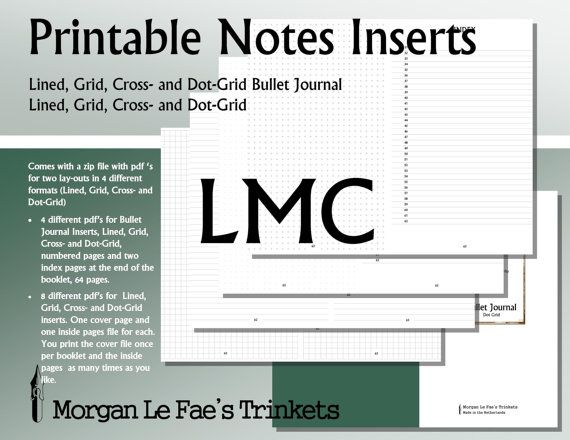 Large Moleskine Cahier size Notes and Bullet Journal inserts,  Lined, Grid, Cross- and Dot-Grid