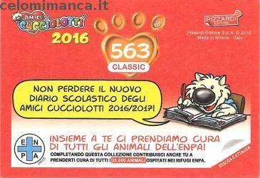 Amici Cucciolotti 2016: Retro Figurina n. 563 -