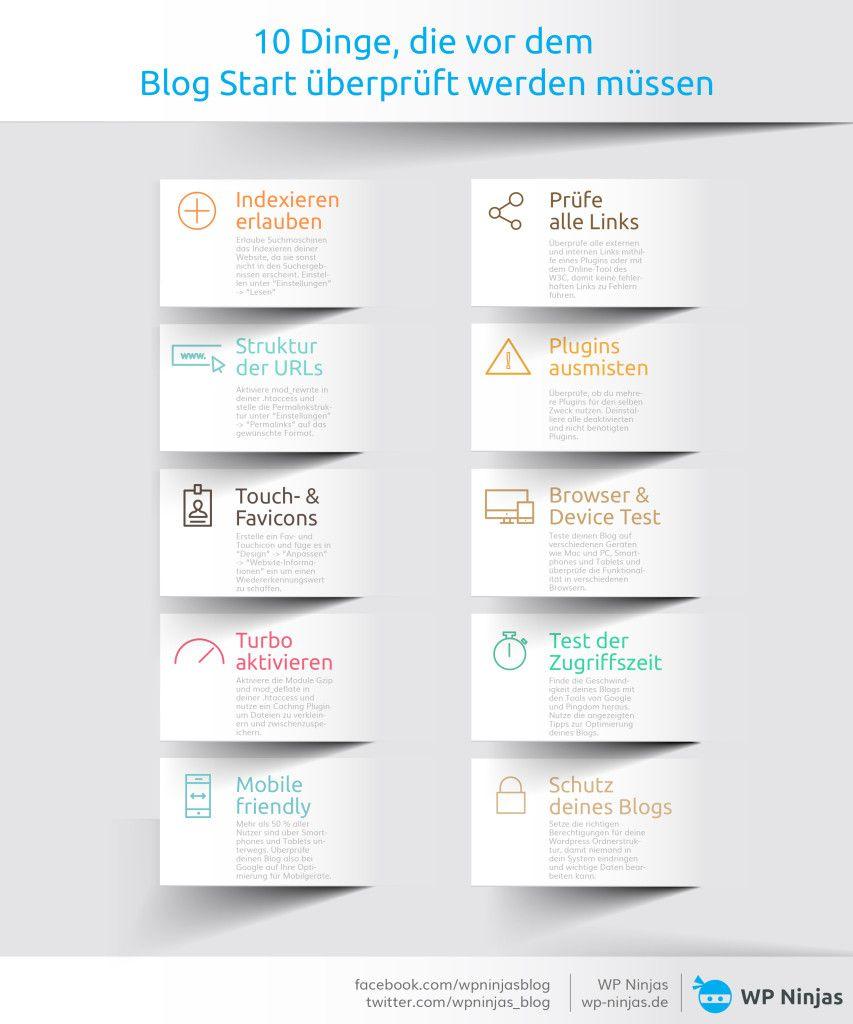 Infografik-10 Dinge die vor dem Blog Start überprüft werden müssen