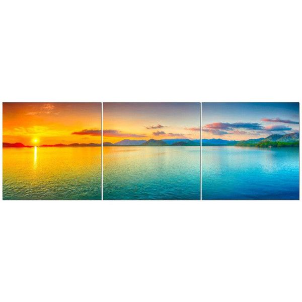 Orange Mountain Sunset Over Tropical Ocean 24 X 24 3 Piece Canvas 125 Liked On Polyvore Featuring Home H Panorama Photography Panorama Beach Landscape