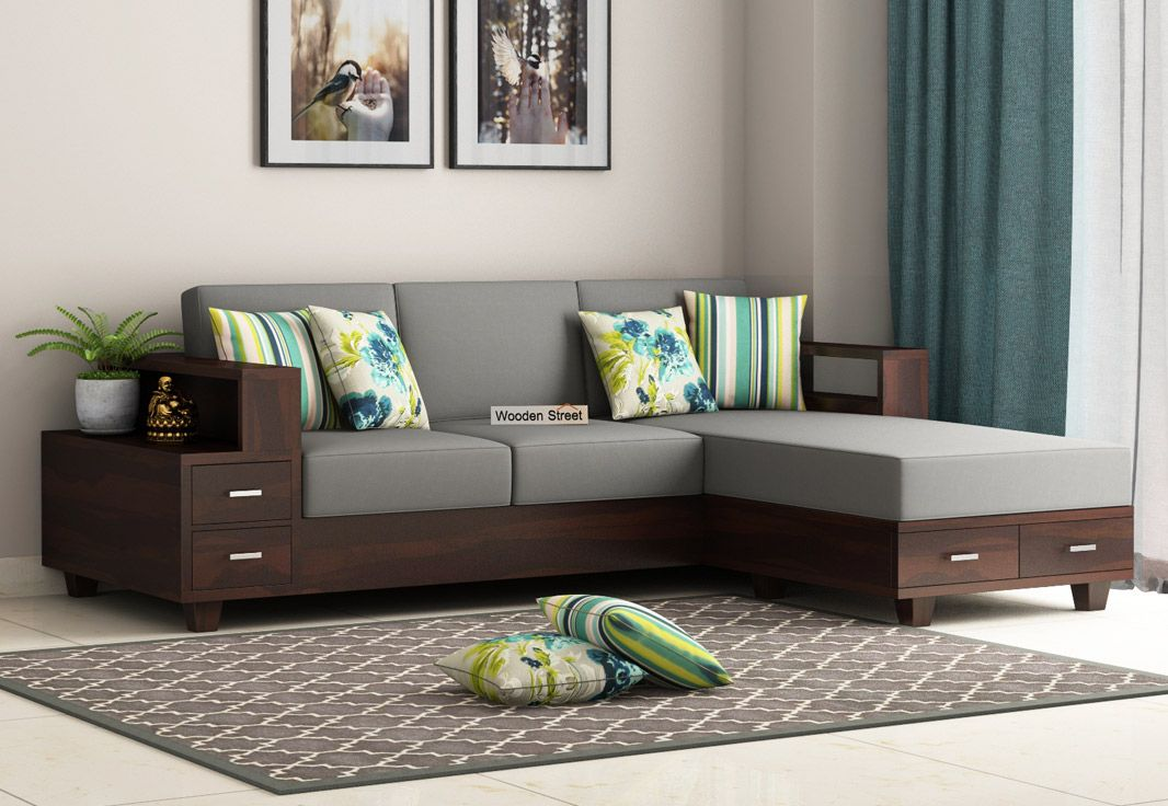 Buy Solace L Shaped Wooden Sofa Walnut Finish Online In India Wooden Street In 2020 Wooden Sofa Designs Wooden Sofa Set Corner Sofa Design