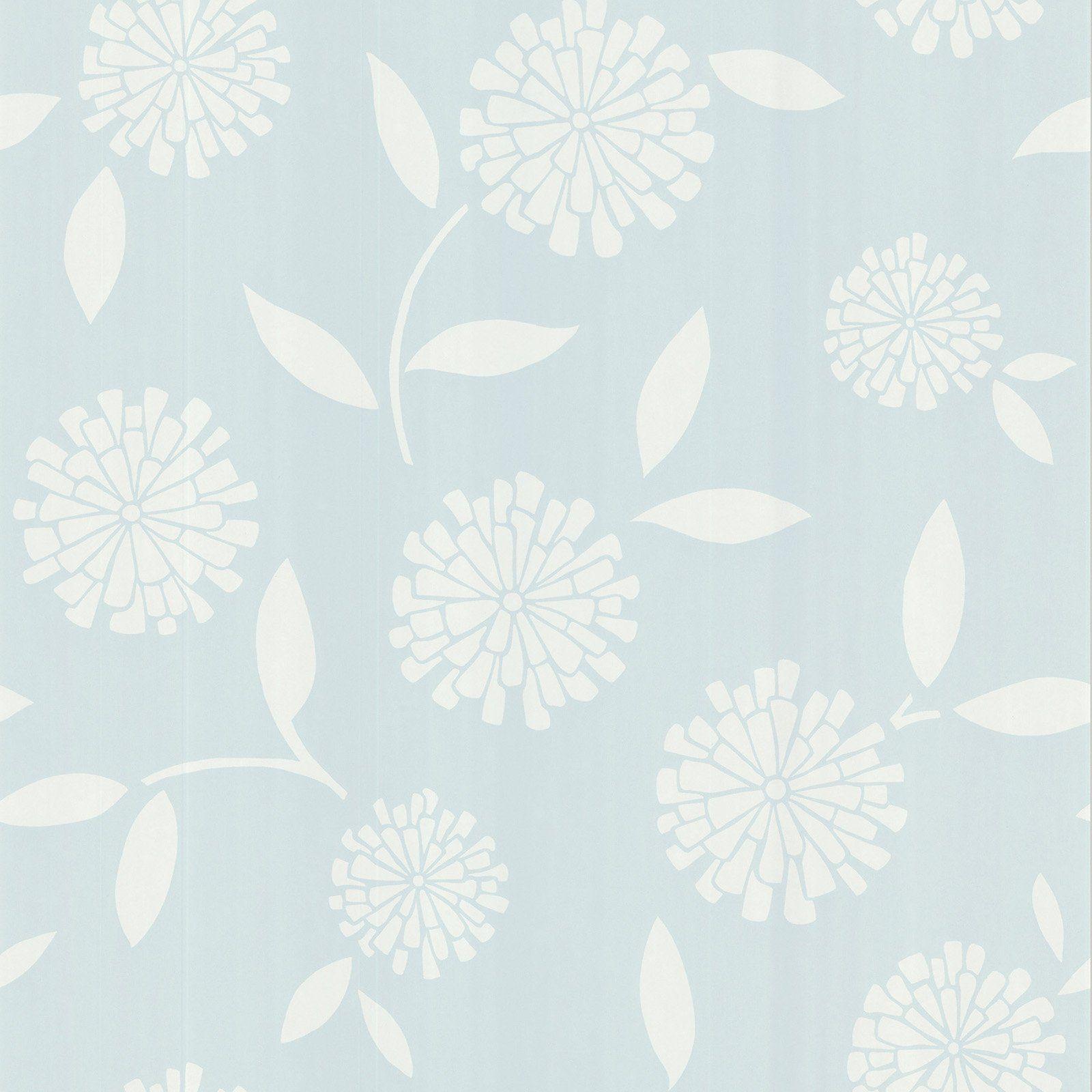 Brewster Zinnia Modern Floral Wallpaper Floral Wallpaper Blue