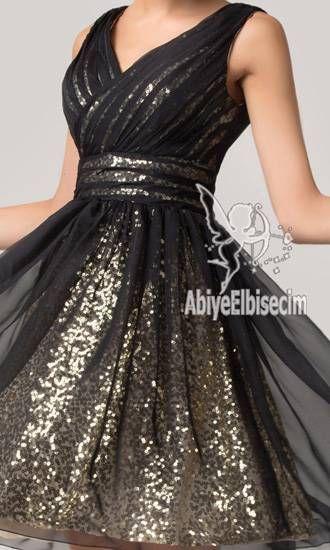 Kisa Abiye Elbise Siyah Altin Elbise Elbiseler Elbise Modelleri