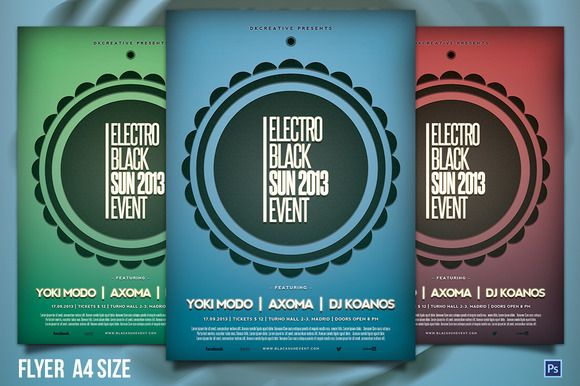 Electro Black Sun Event Flyer By Dkcreative On Creative Market