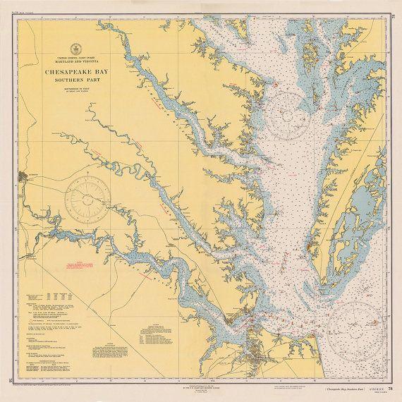 1940 Nautical Chart of Chesapeake Bay in 2019 Maps Nautical