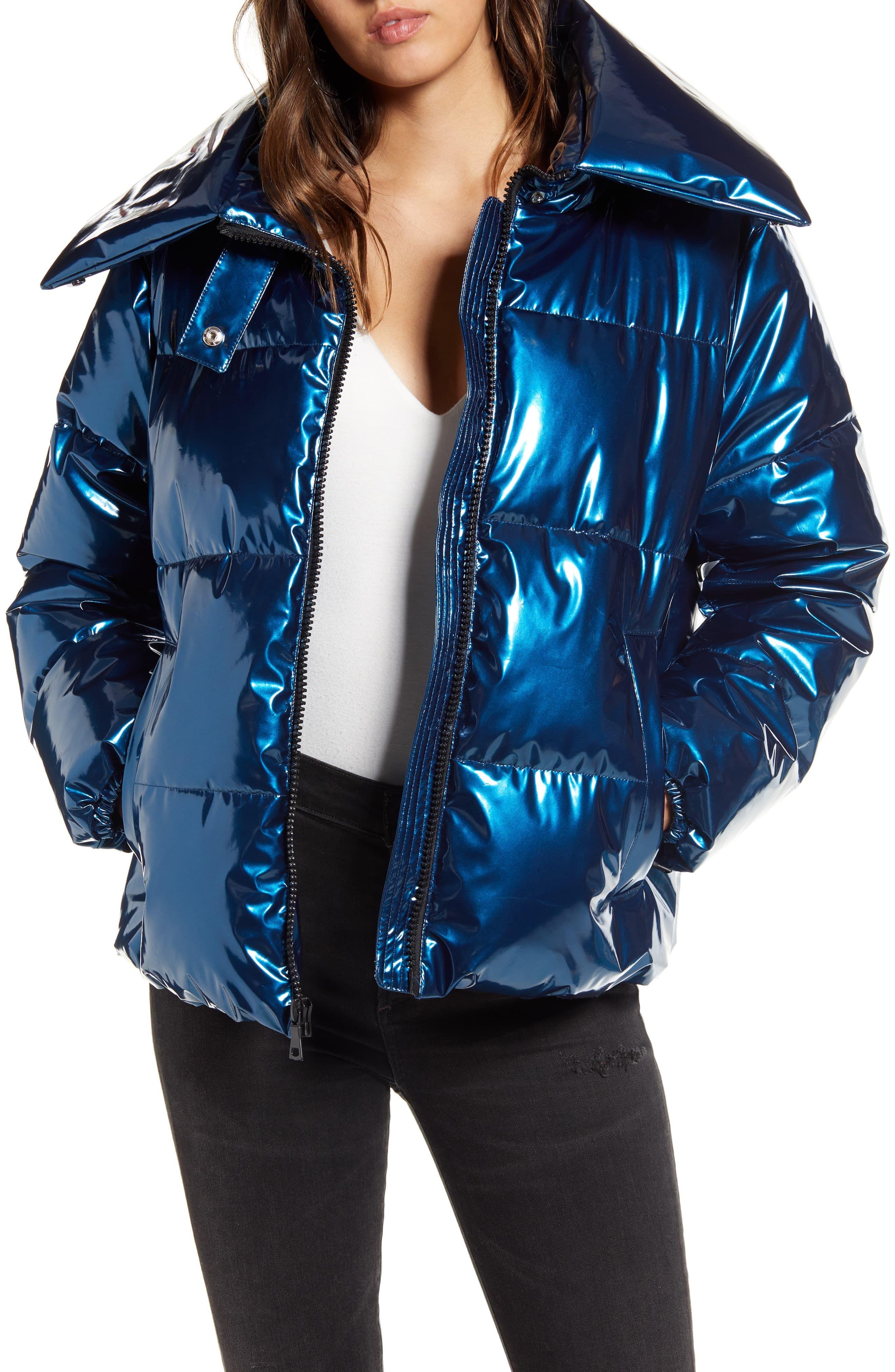 Women S Kendall Kylie Shiny Vinyl Puffer Coat Size Small Blue Puffer Coat Best Winter Coats Long Sleeve Knit Tops