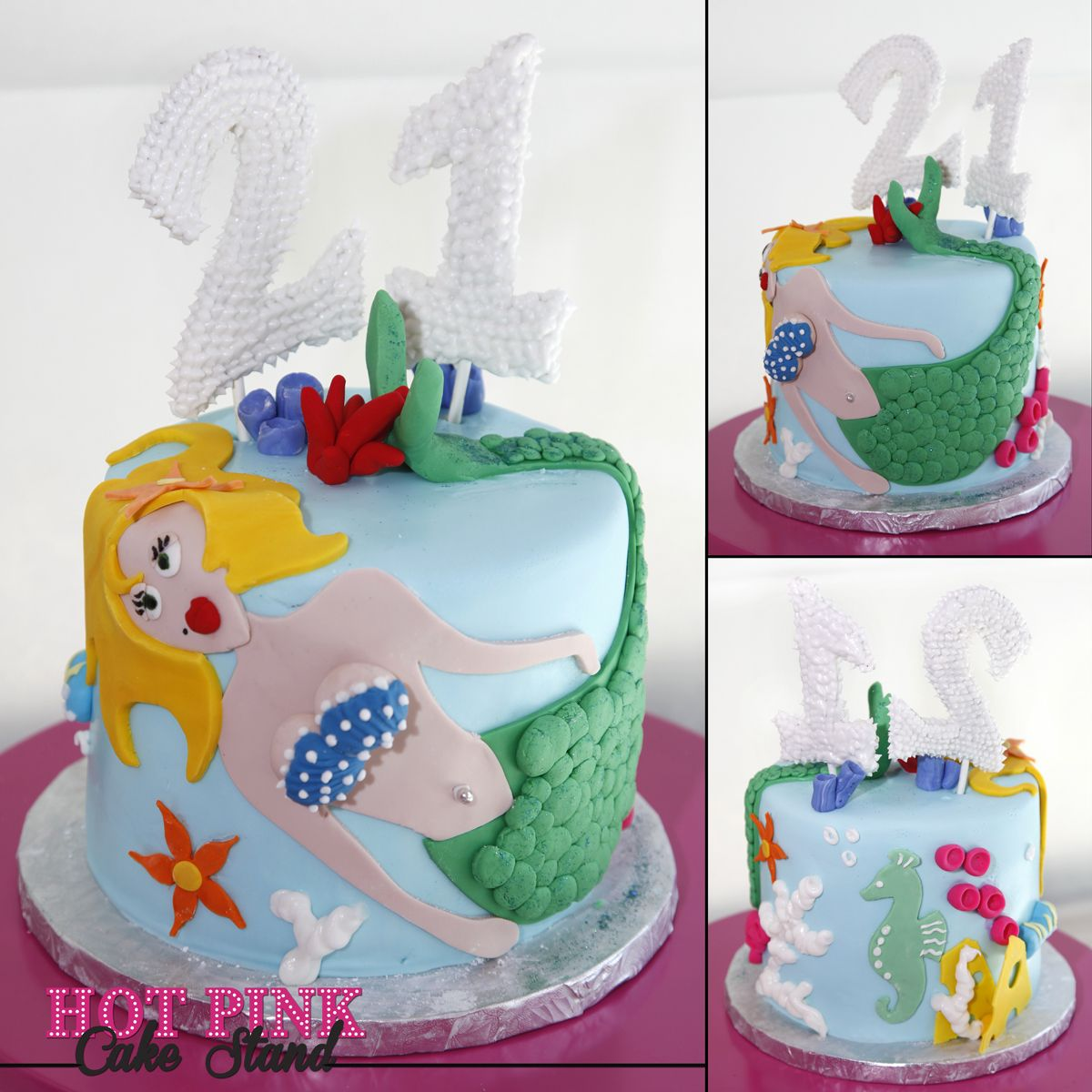 Excellent 21St Birthday Cake With Mermaid Inspired By Clients Wine Glasses Birthday Cards Printable Opercafe Filternl