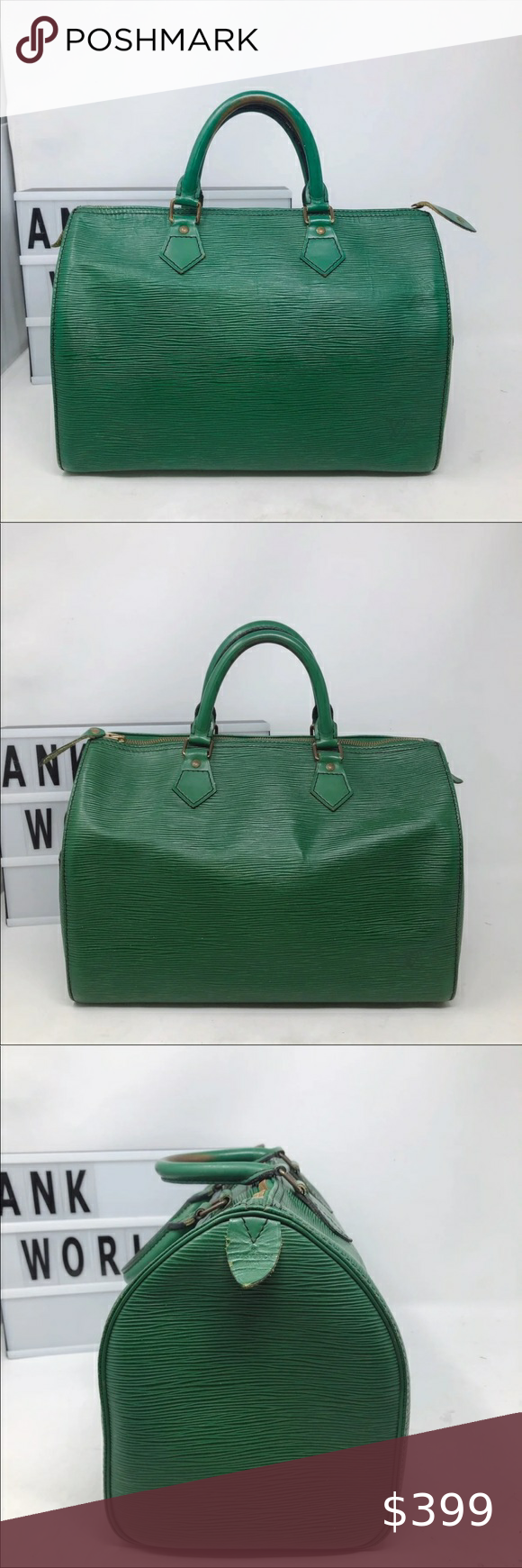 Louis Vuitton Green Speedy 30 Epi Leather Bag Welcome to ANK WORLD, Your trustworthy boutique for authentic designer vintage items!   100% AUTHENTIC Louis Vuitton Speedy 30  Comment: Speedy 30,  made in 1990s in good condition. A Must Have Classic!  Condition: good  Exterior: normal signs of wear Interior: normal signs of wear  Hardware: scratches  Size: 12' x 10.4' x 7' Material: leather Date code: VI0912 Smell: none Comes with: none  Thanks for looking! Louis Vuitton Bags Satchels