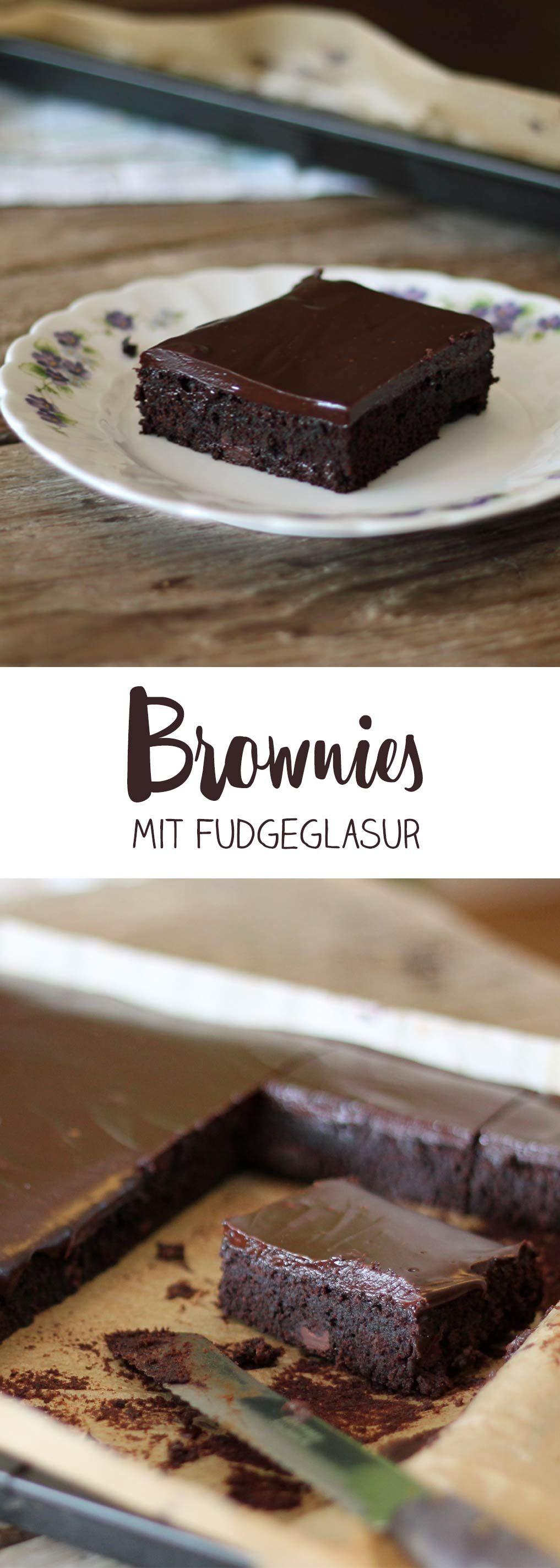 Sonntagskuchen Brownies mit Fudge-Glasur - schokoladiges Rezept