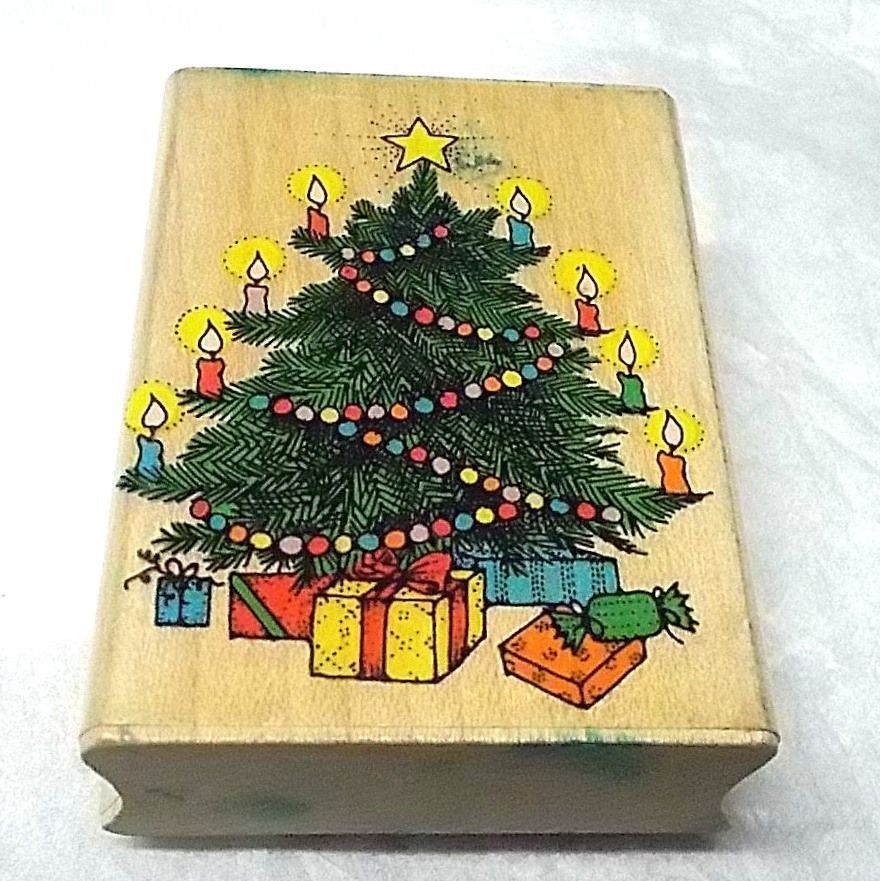 Hero Arts Super Christmas Tree vintage 1990 rubber stamp