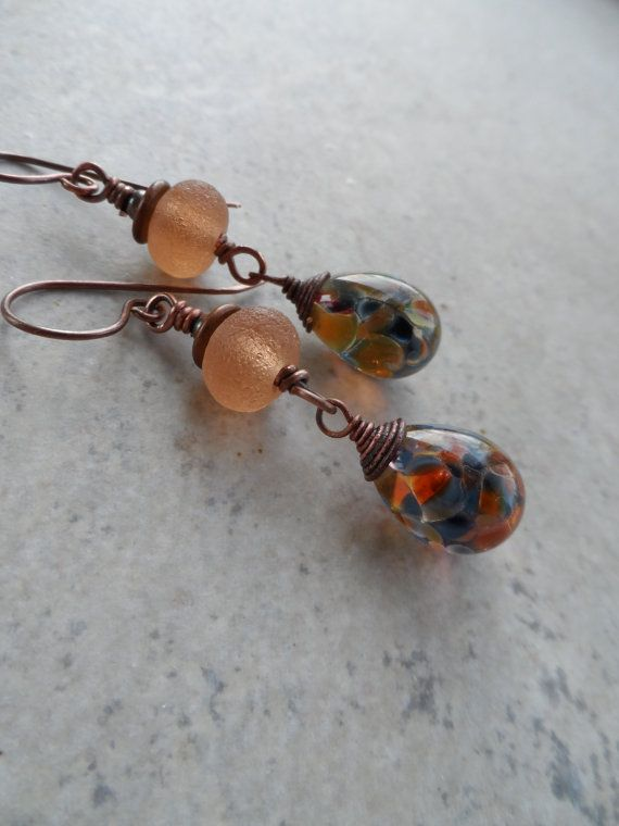 Sailor's Run ... Lampwork and Copper Wire-Wrapped Earrings Headpins by Raida of Havana beads