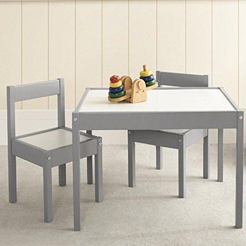 3 Pcs Rectangular Table 2 Chairs Set Wood Furniture Kids Playroom White New Vivrae Custom Small Table And Chairs Table And Chair Sets Kids Table And Chairs