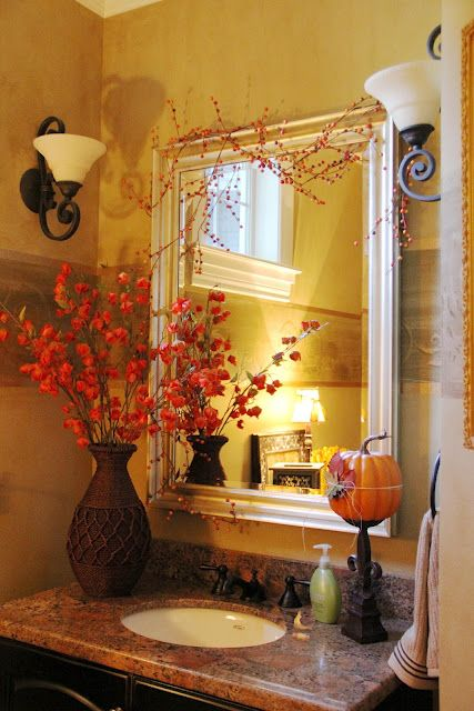 Beautiful Fall Bathroom Decor With Pumpkin Flowers And Fall Garland Above Mirror Beautiful Bathroom Inspiration Fall Decorating Ideas From Bathroom