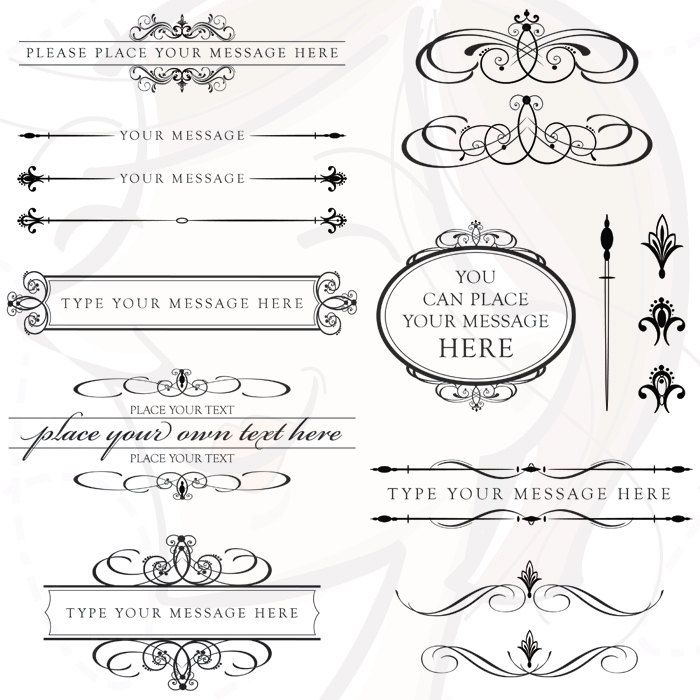 Vintage Calligraphy Clip Art Clipart DIY Wedding Invitation Scrapbooking Embellishment Text Dividers Oval Flourish Digital Frame Old 10136