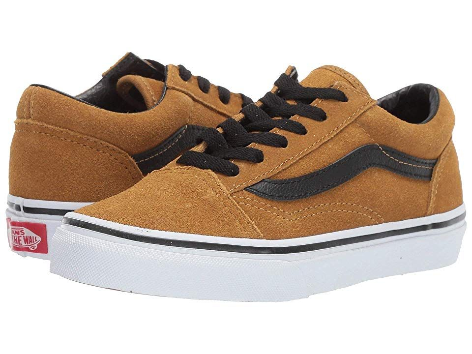fef6b1d0d44015 Vans Kids Old Skool (Little Kid Big Kid) ((Suede) Cumin Black) Boys ...