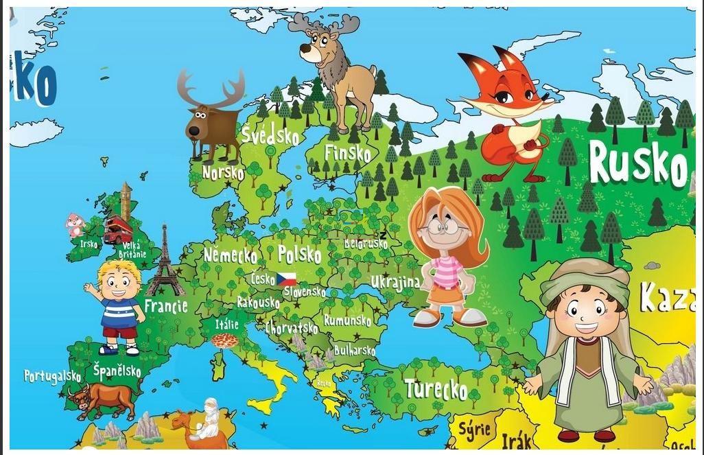Samolepici Mapa Sveta Obrazkova Pro Deti 130x80 Obraz E Shop