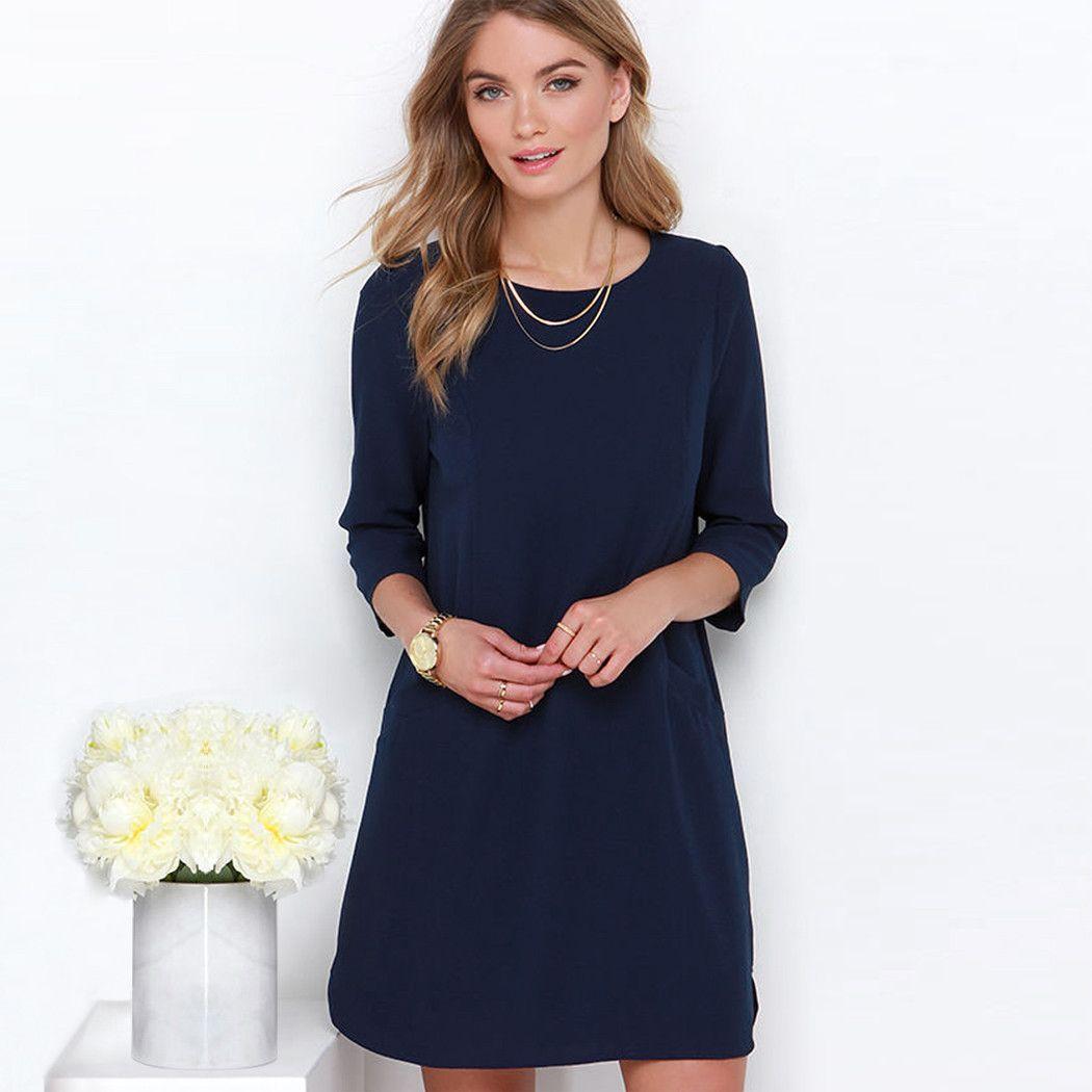 Stylish Women Round Neck 3 4 Sleeve Solid Casual Mini Chiffon Dress Blue Shift Dress Shift Dress Fashion [ 1050 x 1050 Pixel ]