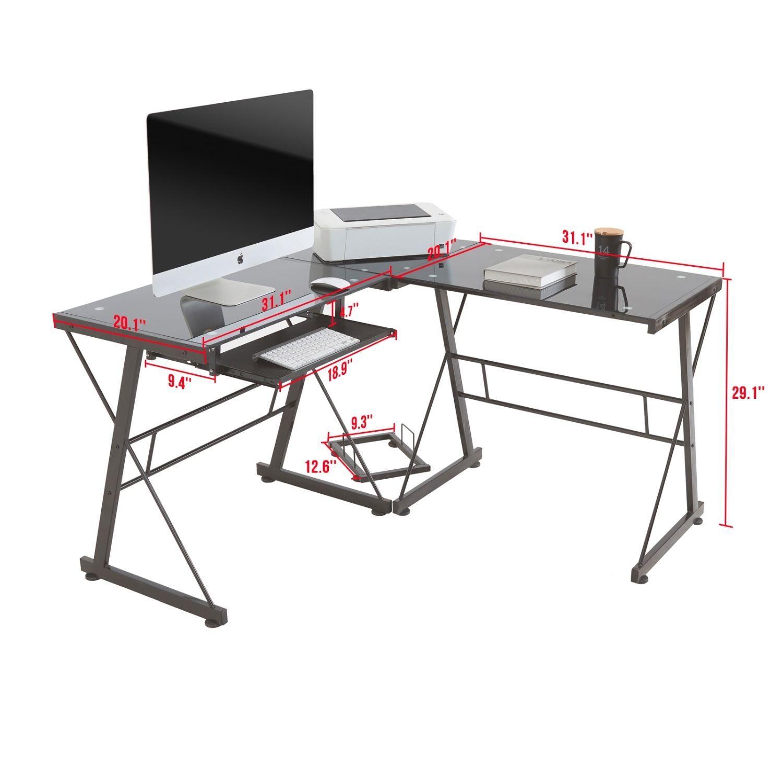L Shape Corner Computer Desk Pc Gl Laptop Table Workstation Home Office Black Ebay