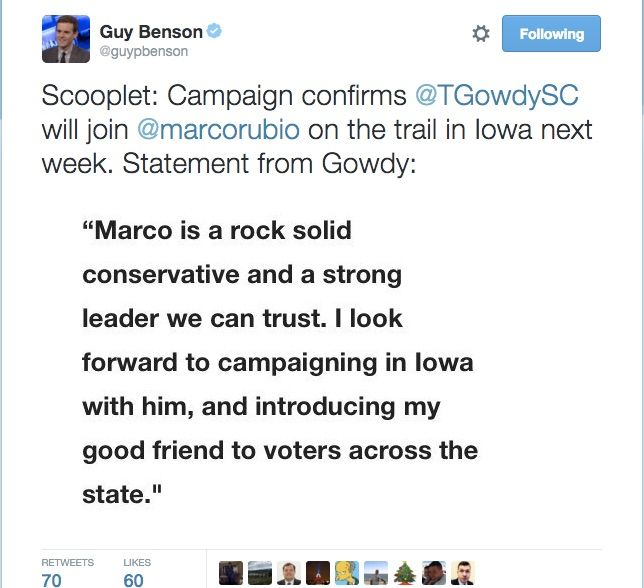 Trey Gowdy Supports RINO Rubio For President.