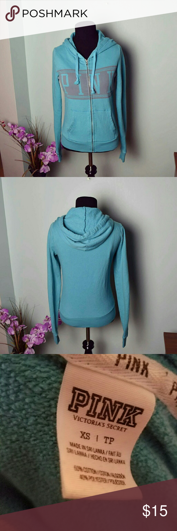 PINK Powder Blue Zip Up Sweater PRICE IS FIRM