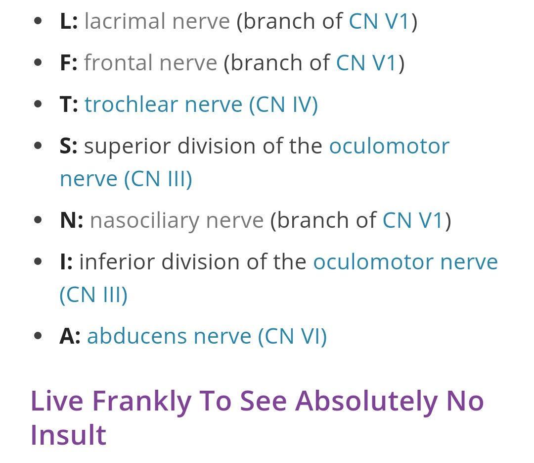 Superior orbital fissure nerves (mnemonic) | Mnemonics | Pinterest