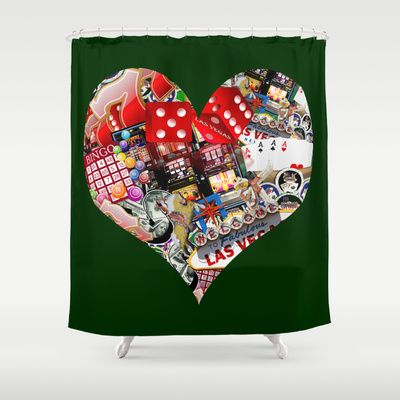 Heart Playing Card Shape Las Vegas Icons Shower Curtain By