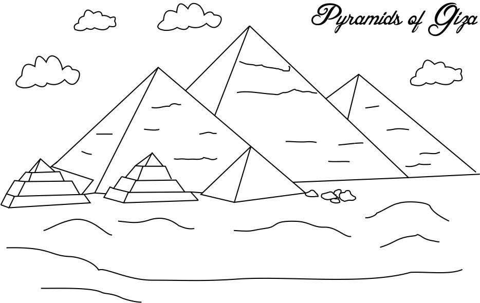Egyptian Printables Pyramids Of Giza Coloring Page For Kids
