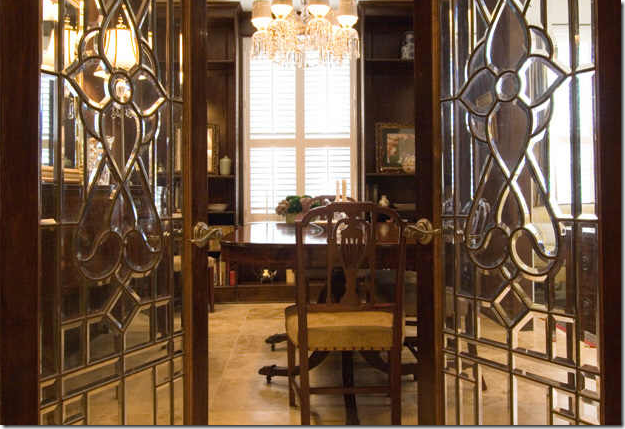 Leaded Glass French Doors Leading To Dining Room For Jeb