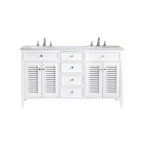 Photo of Elegant Lighting VF-1042 Cape Cod 60 in. Vanity Sink Set in White, Contemporary & Modern | Bellacor