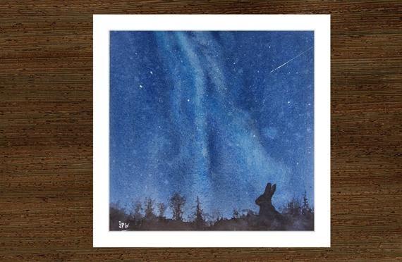 Peinture Originale Nuit Etoilee Aquarelle Paysage Nocturne Ciel