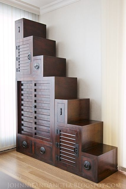 Tansu Step Chest - Tiny House stairs and storage in one : johnnieandangela  --- pp: Love the dark, rich, wooden, old world furniture effect.